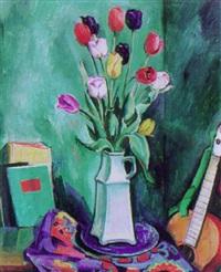 stilleben mit tulpen, büchern und gitarre by eugen ammann