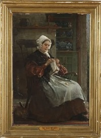 interior genre scene with woman knitting, cat by feet by thomas hicks
