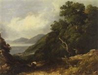 a view of bangor with a figure and a donkey on a path in the foreground by joseph william allen