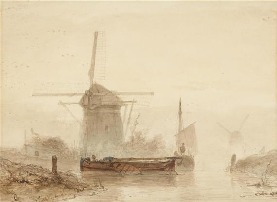 barque démâtée moulin et brume by johan barthold jongkind