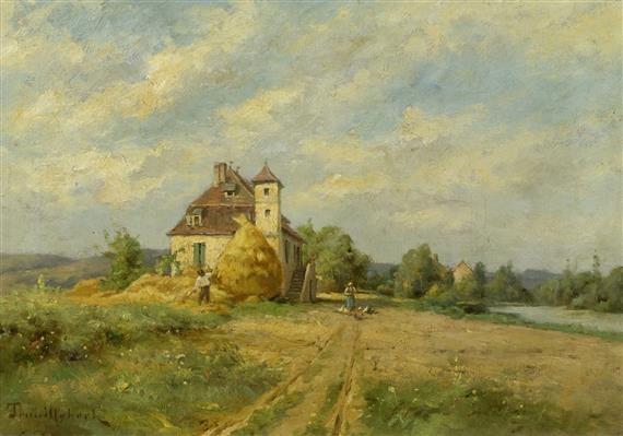 landschaft mit bauern an einem fluss by paul désiré trouillebert