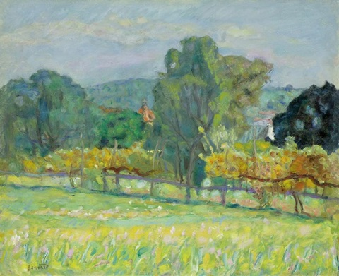 paysage au clocher rouge by pierre bonnard