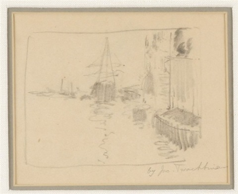 harbor scene sketch by john henry twachtman