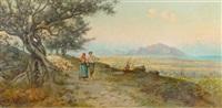 schäferpaar vor küstenlandschaft by eremino kremp