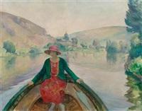 jeune femme en barque aux andelys by henri lebasque