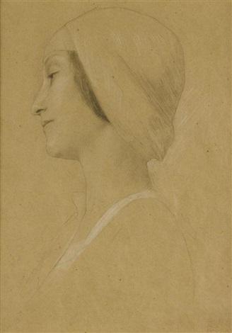 brustbild eines mädchens im profil nach links by gustav klimt