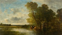 river landscape with cows by leon victor dupré
