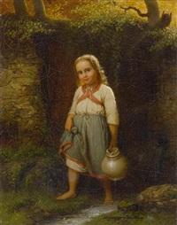 kleines mädchen mit krug by johann georg meyer von bremen