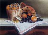 a still life with wrapped oranges, grapes, peaches and nuts by thomas nash