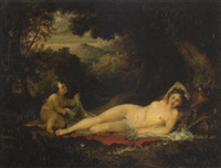 venus and cupid in a wooded bower by george arnald