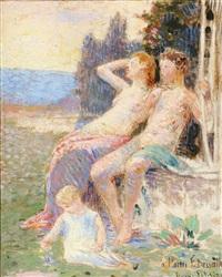 couple et enfant dans un paysage by hippolyte petitjean
