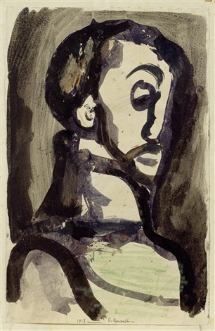 tête dhomme profil by georges rouault