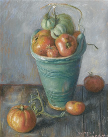 stillleben mit tomaten in grünem topf by aurèle rené barraud