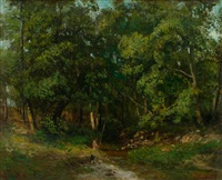 waldlandschaft by gustave courbet and cherubino pata