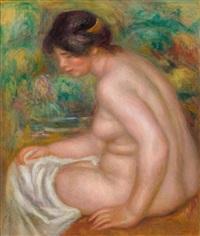 baigneuse assise, vue de profil (gabrielle) by pierre-auguste renoir