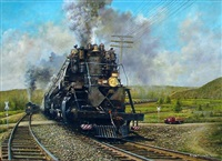 railroad scene with red truck by tony fachet