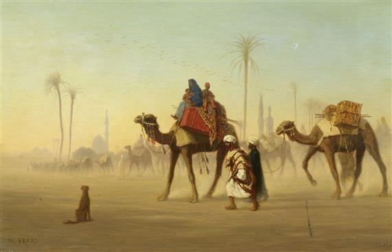 beduinen in der wüste mit kamel by charles théodore frère bey frère