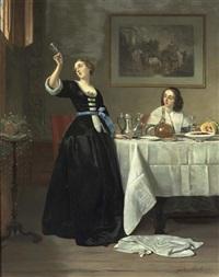 le dejeuner: interieur mit zwei eleganten damen um einen gedeckten tisch by johann cornelius mertz