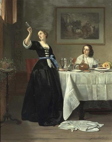 le dejeuner interieur mit zwei eleganten damen um einen gedeckten tisch by johann cornelius mertz