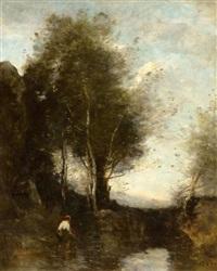 la pêche à l`épervier au pied des arbres by jean-baptiste-camille corot