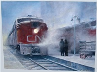 train at station with two figures by tony fachet