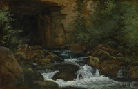 la cascade (vallée de chevreuse) by théodore rousseau