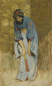 japanerin im kimono mit fächer by franz xavier simm