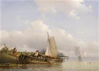 holländische flusslandschaft mit booten by frans arnold breuhaus de groot