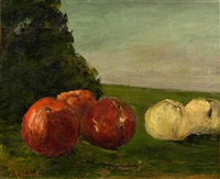 still life with apples by gustave courbet