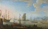 handelsschiffe und fischerboote vor der hafeneinfahrt by reinier nooms