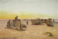 beduinen beim gebet by otto pilny