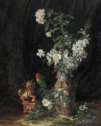 stilleben mit kirschenblumen und papagei by fritz quidenus