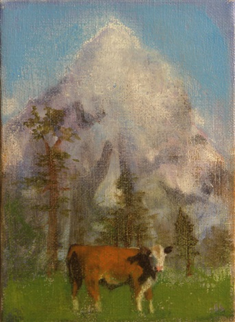 cow with mountain by tom wudl