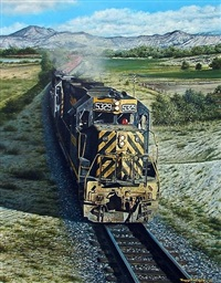 railroad scene with mountains, engine 5329 by tony fachet