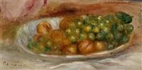 raisins et noix dans une assiette blanche by pierre-auguste renoir