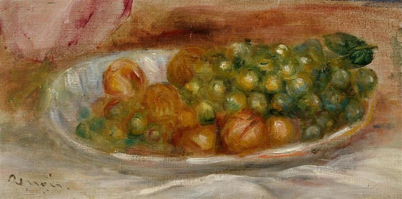 raisins et noix dans une assiette blanche by pierre auguste renoir