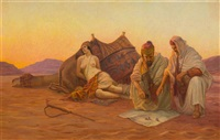 playing dice in the desert by otto pilny