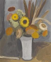 stillleben mit trockenblumen in einer vase by claude loewer