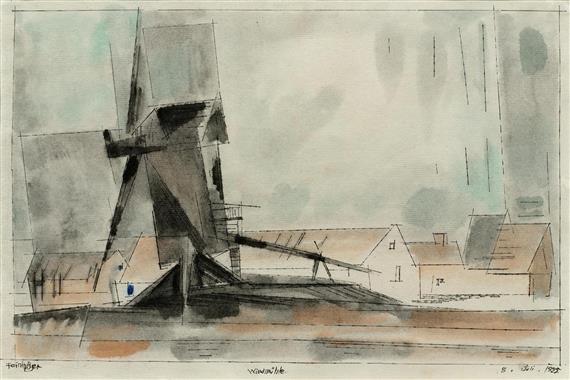 die windmühle by lyonel feininger