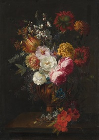 grosses stilleben mit rosen, tulpen und hibisken by gaspar pieter verbruggen the younger