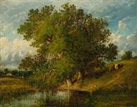 grosser baum vor einer teichlandschaft by leon victor dupré