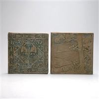 tree and peacock tiles (2 works) by batchelder tiles