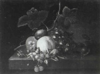 still life of fruit on a ledge by william (quaker) pegg