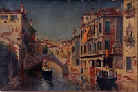venetian canal scene with gondolas by william (will.) anderson
