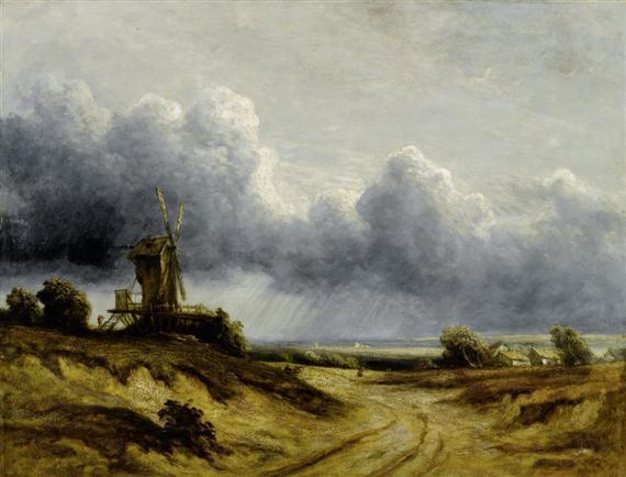 windmühle auf einer anhöhe by georges michel