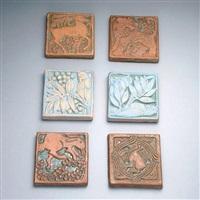 rabbit, condor, lion, deer, parrot (6 works) by batchelder tiles