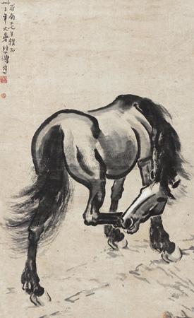 憩马图 by xu beihong