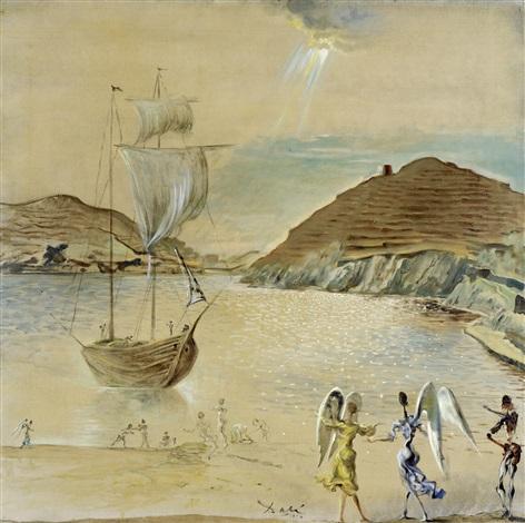 paysage du port lligat avec anges familiers et pêcheurs by salvador dalí