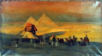 sphinx with figures on camels by w. livingston anderson