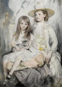 portrait zweier junger mädchen by joszi arpad koppay